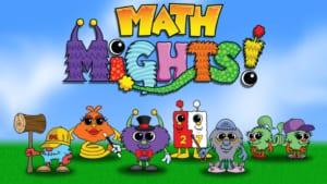 Math Mights - title screen with characters