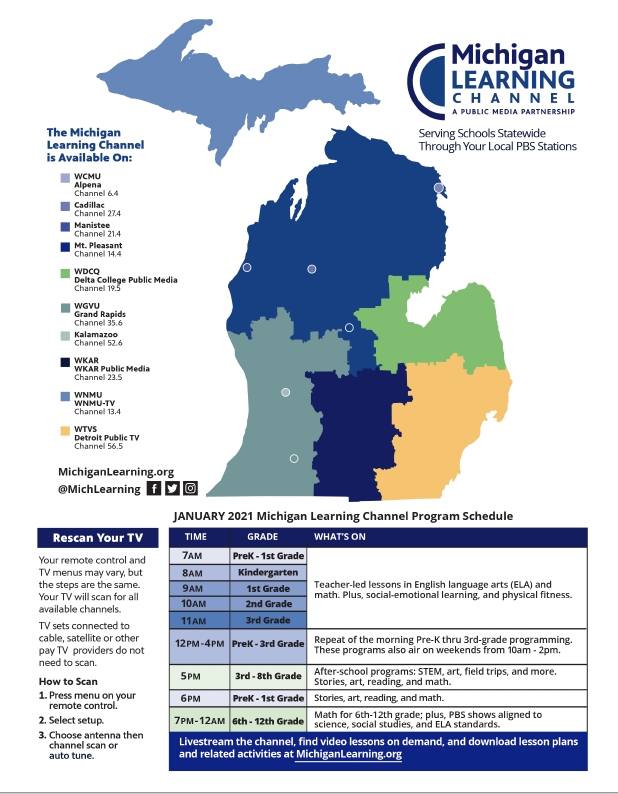 Download a map of the coverage areas for the Michigan Learning Channel.
