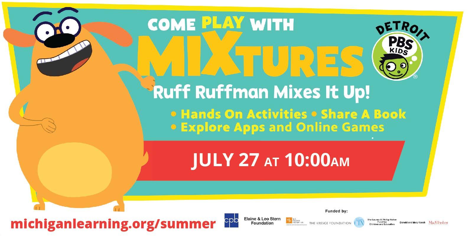 Detroit PBS Kids mixtures with Ruff Ruffman event