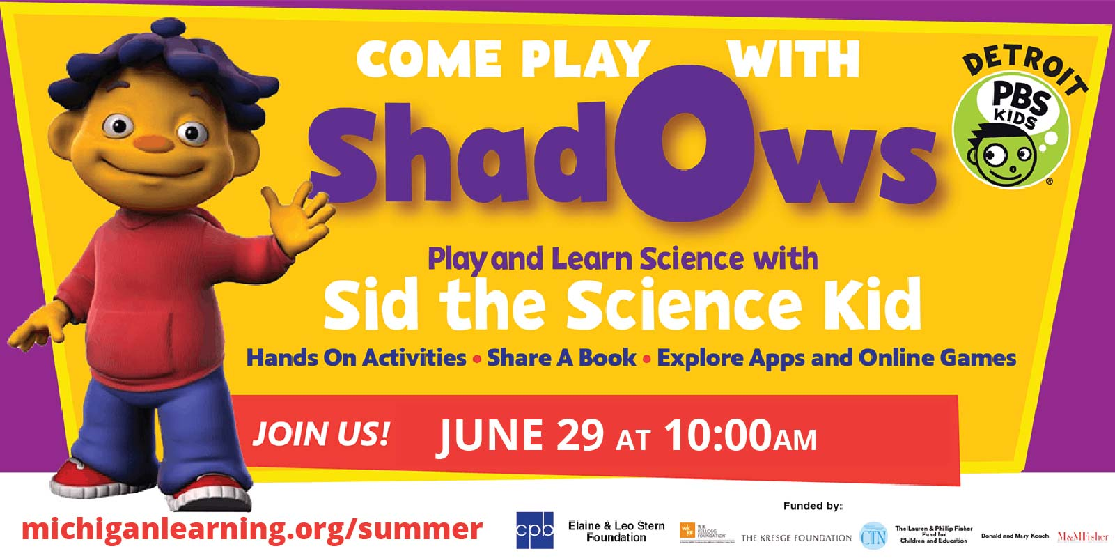 Shadows with Sid teh Science Kid, Detroit PBS Kids, and Michigan Learning Channel