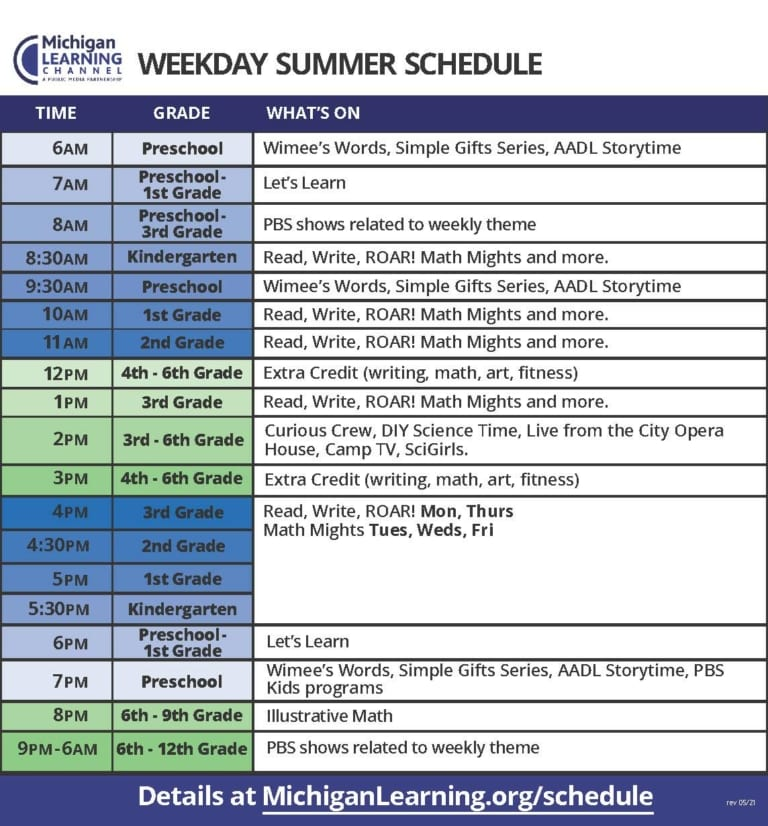 Michigan Learning Channel Summer TV Schedule