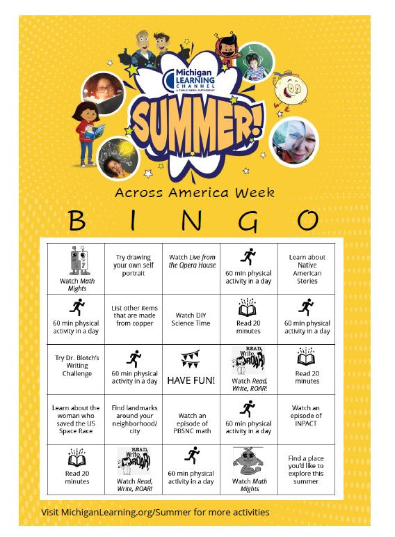 across MAerica week bingo card