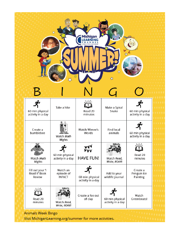 Animals week bingo card