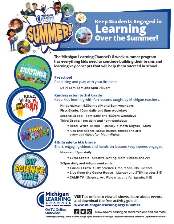 MLC Summer programming by grade level