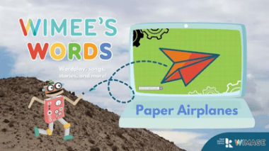 Wimee's Words paper airplane Episode graphic